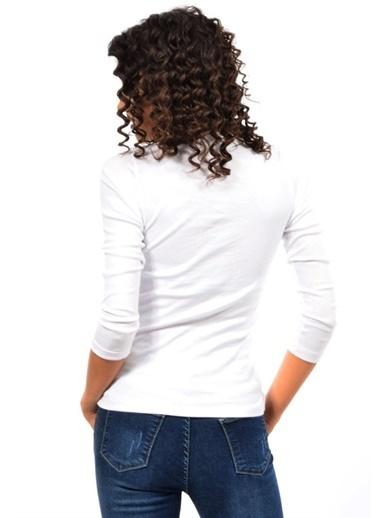 Modaplaza Kadın Body Beyaz Ribana Yaka Düğmeli Beyaz